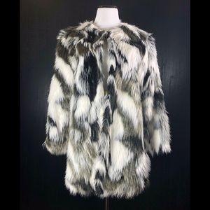 Jackets & Blazers - Black, White & Grey Mottled Faux Fur Coat